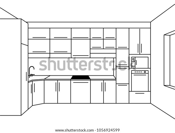 Kitchen Sketch Modern Plan Interior Front Stock Vector Royalty Free 1056924599