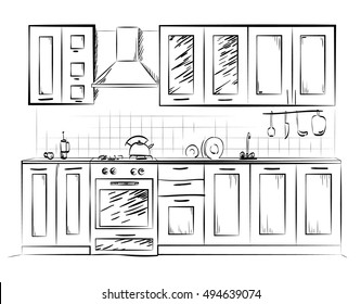 Kitchen Interior Sketch Images Stock Photos Vectors Shutterstock