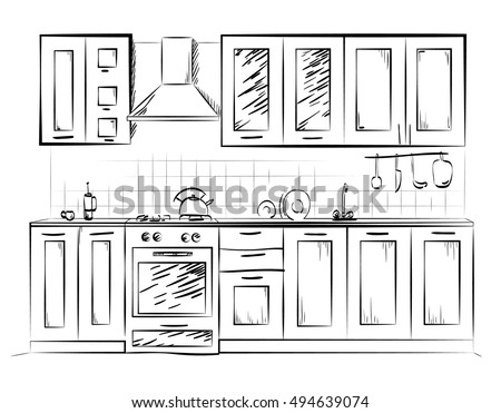 Kitchen Sketch Paint Home Hand Design Stock Vector Royalty Free