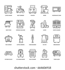 Kitchen small appliances line icons. Household cooking tools signs. Food preparation equipment - blender, coffee machine, microwave, toaster, meat grinder.