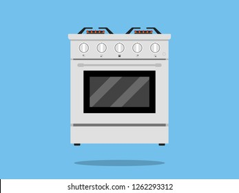 Kitchen stove flat style isolated gas cooker illustration Vector
