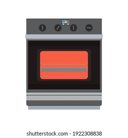 Kitchen stove with oven cooking appliance object home. Isolated equipment kitchen stove food vector icon electric technology household. Domestic oven appliance interior symbol machine cartoon icon