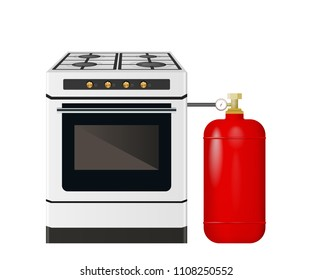 Kitchen stove with a red gas cylinder. Vector illustration. A container of butane.