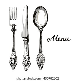 kitchen stuff silverware knife, fork and spoon vintage hand drawn illustration