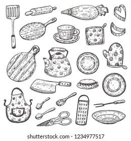 Kitchen supplies set. Hand drawn vector illustration. Peeler, grater, spoon, corkscrew, slicer, pepper mill, shaker, steel knife, whisk, pin, fork, salt shaker and other elements for your design.