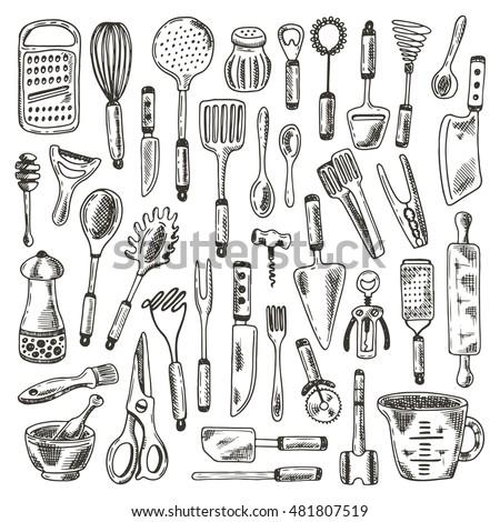 kitchen supplies set hand drawn vector illustration peeler grater spoon corkscrew - Kitchen Supplies