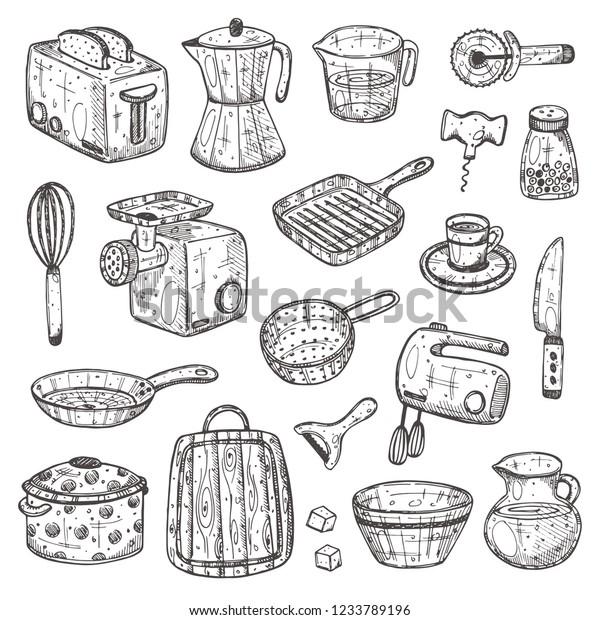 Kitchen Supplies Set Hand Drawn Vector Stock Vector Royalty