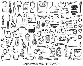 Kitchen supplies set. Tool and ware collection. Different utensils.Hand drawn vector illustration. Kitchenware. Peeler, grater, spoon, corkscrew, slicer, pepper mill, knife, whisk, fork, salt shaker.