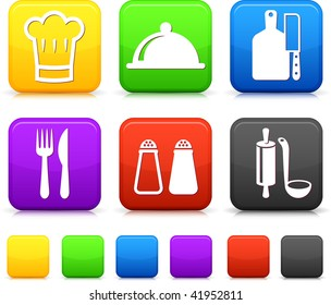 Kitchen supplies square internet button icons
