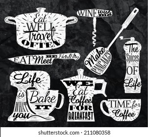 Kitchen symbol in retro vintage style pan cup, knife, mixer with lettering   stylized for the drawing with chalk
