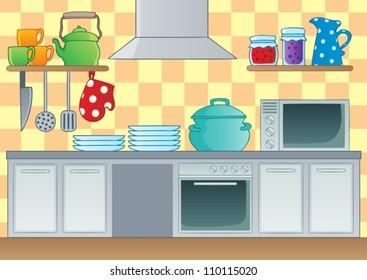 Kitchen theme image 1 - vector illustration.