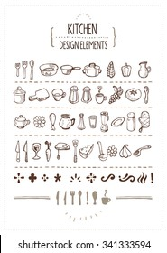 Kitchen Themed Doodles for Designers - Several hand-drawn kitchen utensils icons and extra design elements. Perfect for restaurant menus, cooking books, recipes and such.