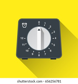 Kitchen timer. Flat icon. Vector illustration. Cooking utensil. Kitchen stuff