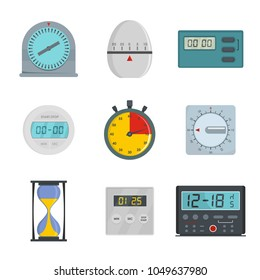 Kitchen timer icons set. Flat illustration of 9 kitchen timer icons for web