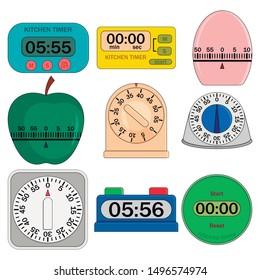 Kitchen timer set. Flat illustration of 9 kitchen timer icons for web. Flat illustration of kitchen timer vector mockup. Digital and analog displays, kitchen timer, flip clock.