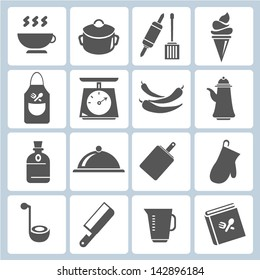 kitchen tool collection, cooking icons set
