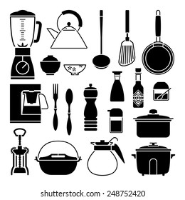 Kitchen tool collection vector silhouette