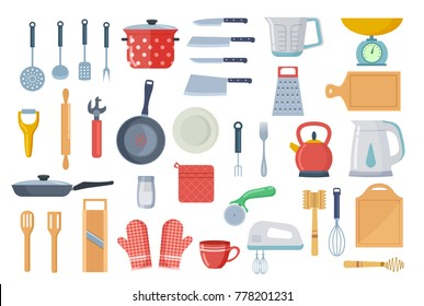 Kitchen Tool Flat Icon Collection Vector Illustration