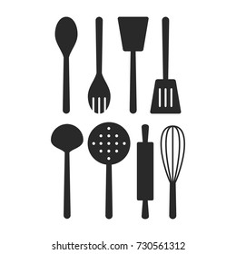 Kitchen Tool Icon Vector Set. Spatula, Rolling Pin, Whisk, Ladle, Skimmer Vector. Silhouette Vector Design
