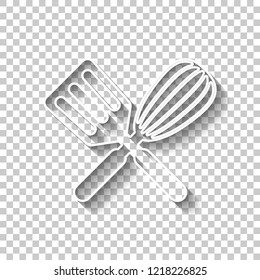 Kitchen tool icon. Whisk and spatula, criss and cross. White outline sign with shadow on transparent background