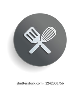 Kitchen tool icon. Whisk and spatula, criss and cross. White paper symbol on gray round button or badge with shadow