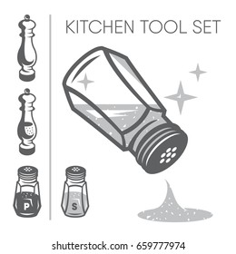 Kitchen tool set. Salt and paper shakers on a white background