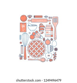 Kitchen tools autumn collection. Kitchenware set. Bakery objects. Pie making. Flat line style. Vector illustration