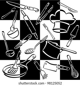 tailoring set seamless pattern linear style stock vector royalty Kitchen Flooring kitchen tools checkerboard pattern of monly used utensils and equipment for preparing and eating food