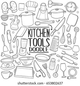 Kitchen Tools Doodle Icons Hand Made