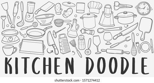 Kitchen Tools Doodle Line Art Illustration. Hand Drawn Vector Clip Art. Banner Set Logos.