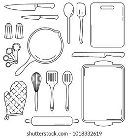 Kitchen tools and equipment for cooking and baking. Collection of vector line art illustrations of common culinary accessories for kitchens and restaurants