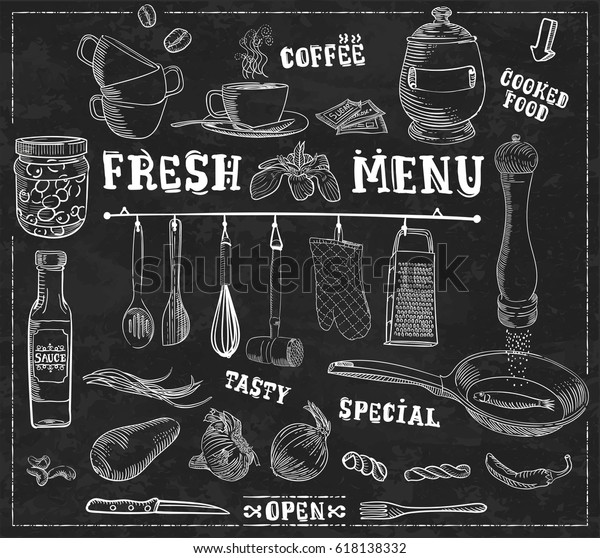 Kitchen tools, food ingredients with captions - handmade, vintage, white line illustration in vector format