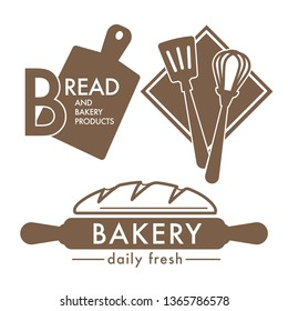 Kitchen tools and fresh bread loaf isolated icons bakery shop vector cutting board and whisk spatula and rolling pin food and wheat dough products grocery store emblem or logo cooking or baking.