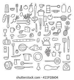 Kitchen tools, fruits, vegetables, thin line, cooking, utensils and cutlery. Icons set.