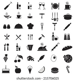Kitchen tools icon set. Food and drink vector symbols. Elements for restaurant or menu design.
