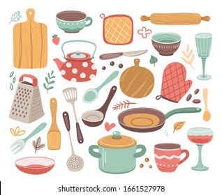 Kitchen tools. Kitchenware, cooking baking utensils. Doodle ceramic kettle, spatula and glass. Isolated modern household elements vector set