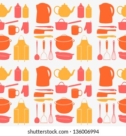 Kitchen tools seamless pattern. Cooking texture can be used for towel design. Vector illustration