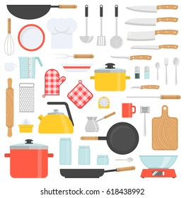 Kitchen tools set. Kitchenware collection. Cooking tools, utensils, cutlery isolated on white background. Flat design icons for web, banners, sites, infographics. Vector illustration