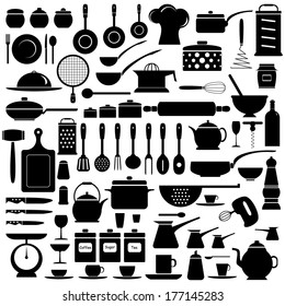 Kitchen tools, set, silhouette, isolated on white background, vector illustration.