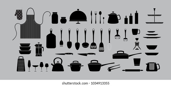 Kitchen tools silhouette set. Kitchenware, tableware, cookware collection. Black cooking tools, utensils, cutlery isolated. Cartoon flat illustration. Logo, icon set
