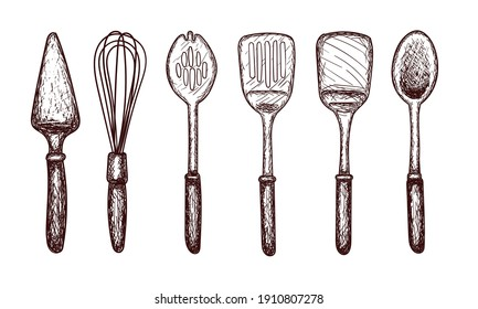 Kitchen tools sketch, spatula, large spoon, slotted spoon, whisk, contour drawing isolated on white background, stock vector illustration for design and decor, sticker, template