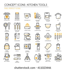 Kitchen Tools , thin line icons set ,pixel perfect icons