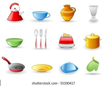 Kitchen utensil icon set.  Isolated on a white background.
