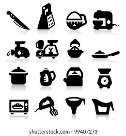 Kitchen utensil icons set - Elegant series