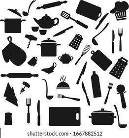 Kitchen utensil, kitchenware black silhouettes, household cooking appliances. Vector home cook utensils and cookware saucepan, ladle, cup, fork and knife, whisk, spoon and cutting board, turner