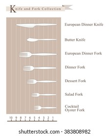 Kitchen Utensil, Set of Different Knifes and Forks for Different Food, Preparing for Special Breakfast, Dinner or Lunch.