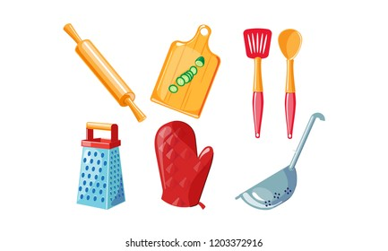Kitchen utensil set, rolling pin, cutting board, grater, red mitten, colander vector Illustration on a white background