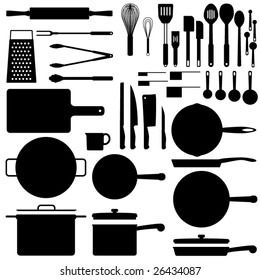 Kitchen utensil silhouette collection in vector format