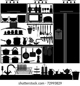 Kitchen Utensil Tool Equipment Interior Design Black Silhouette