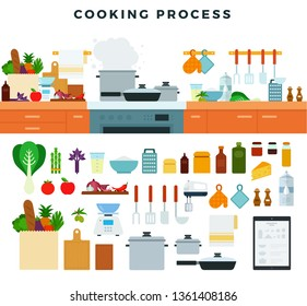 Kitchen utensils, appliances, equipment, cooking battery, food, furniture. Set of elements for illustrating cooking process. Fragment of a modern kitchen interior. Vector illustration.